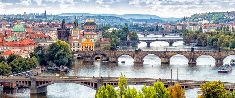 shutterstock_276041009_Scenic view of bridges on the Vltava river and of the historical center of Prague.