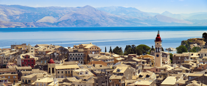 shutterstock_94342615 panorama of the capital of Corfu, Greece
